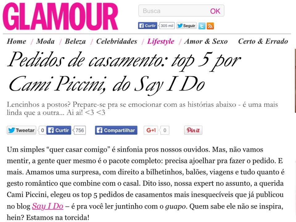 Nosso Pedido na Revista Glamour